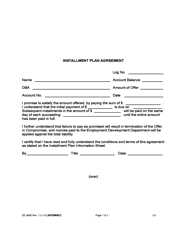 installment plan agreement free download