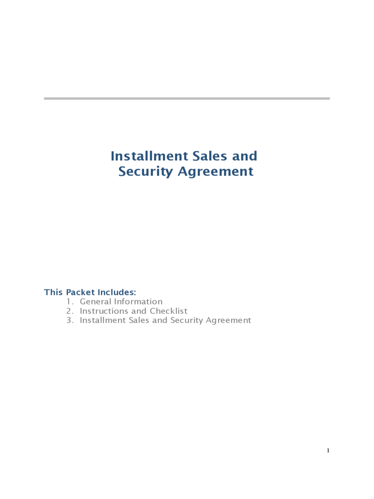 Installment Sales and Security Agreement