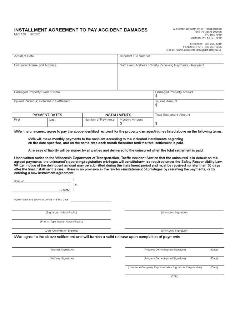 Installment Agreement to Pay Accident Damages