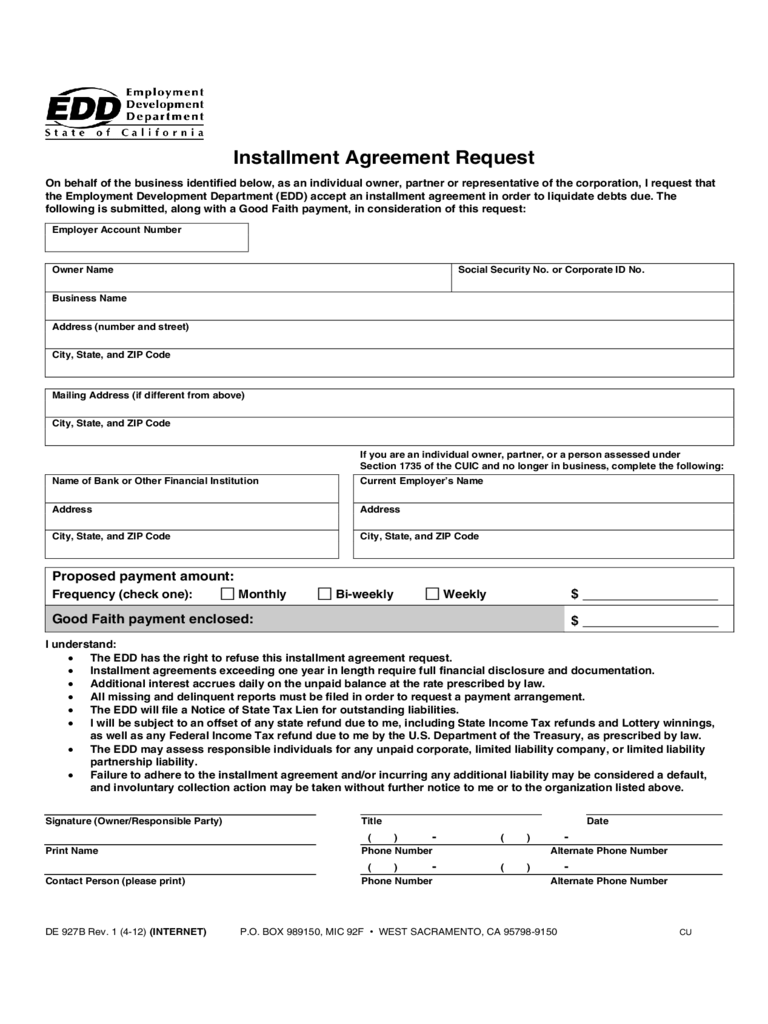 Installment Agreement Form