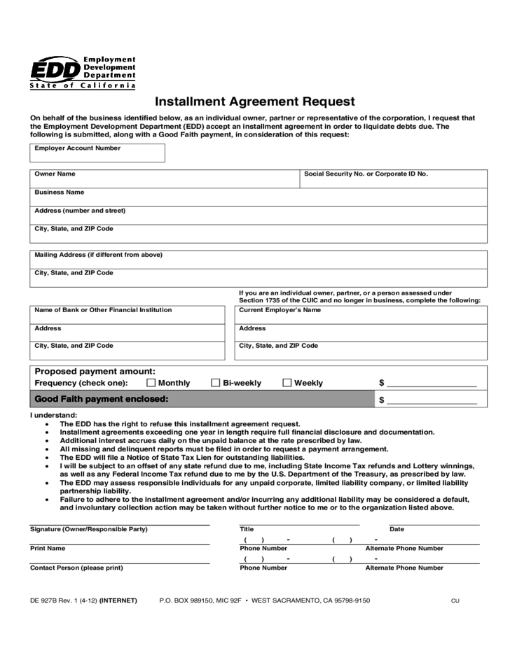 Instalment Instalment Agreement Form