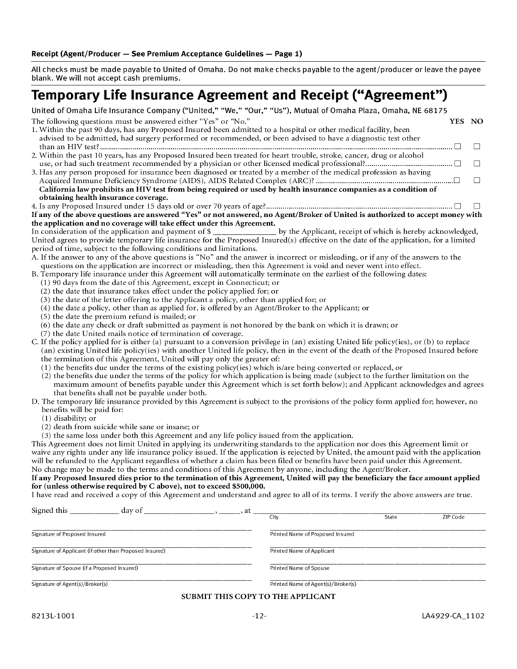 Mutual Of Omaha Insurance >> Life Insurance Application Form Template Free Download
