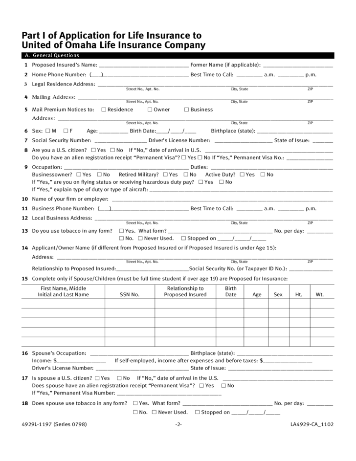insurance forms template  Life Insurance Application Form Template Free Download