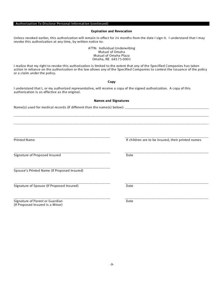 9 life insurance application form template
