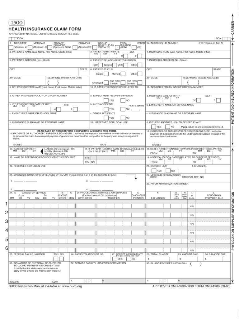 Insurance Claim Sample Form
