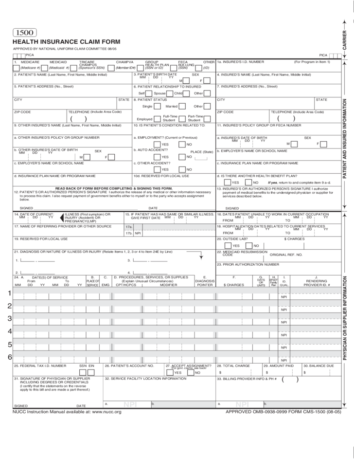 Insurance Claim Sample Form Free Download