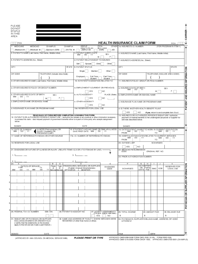 Insurance claim form 3 free templates in pdf word excel download standard health insurance claim form falaconquin