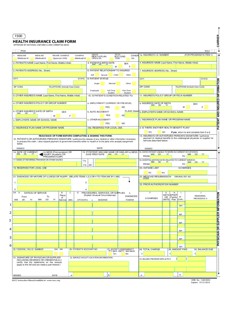Sample Health Insurance Claim Form