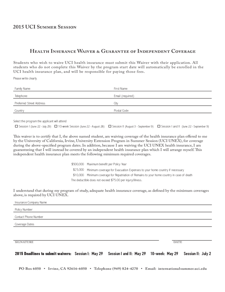 insurance waiver template free download