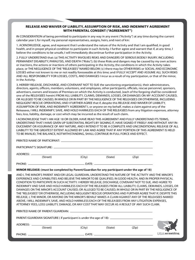 Insurance Waiver Sample Form Free Download