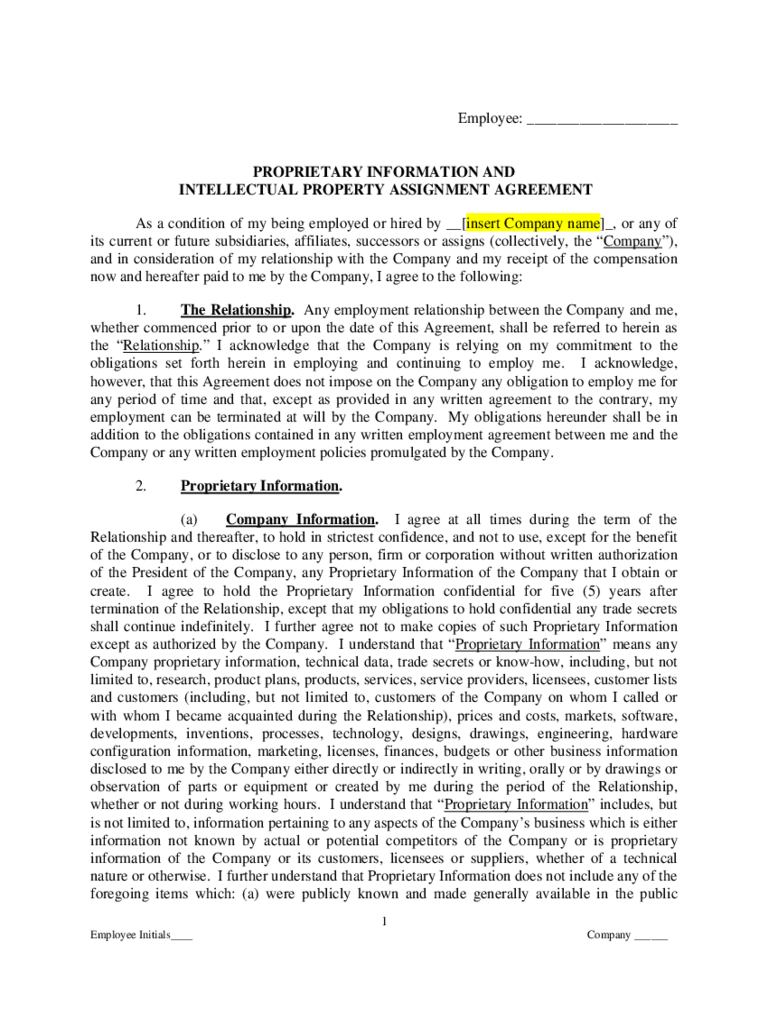 Proprietary Information And Intellectual Property Assignment Agreement