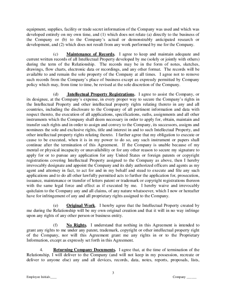proprietary information and intellectual property assignment agreement free download