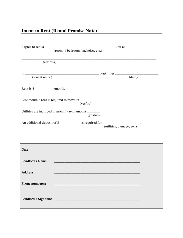Intent To Rent Sample Form Free Download
