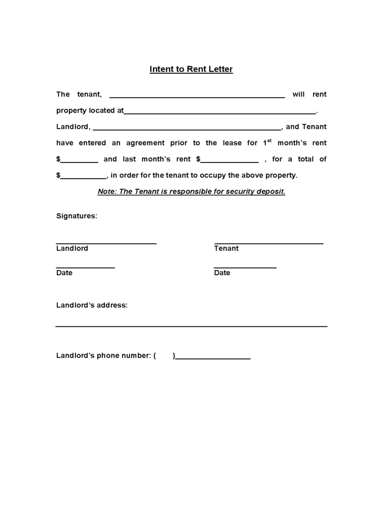 Intent to Rent Form - 2 Free Templates in PDF, Word, Excel