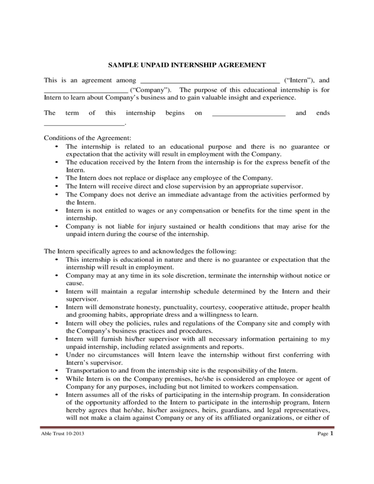 Sample Unpaid Internship Agreement Free Download