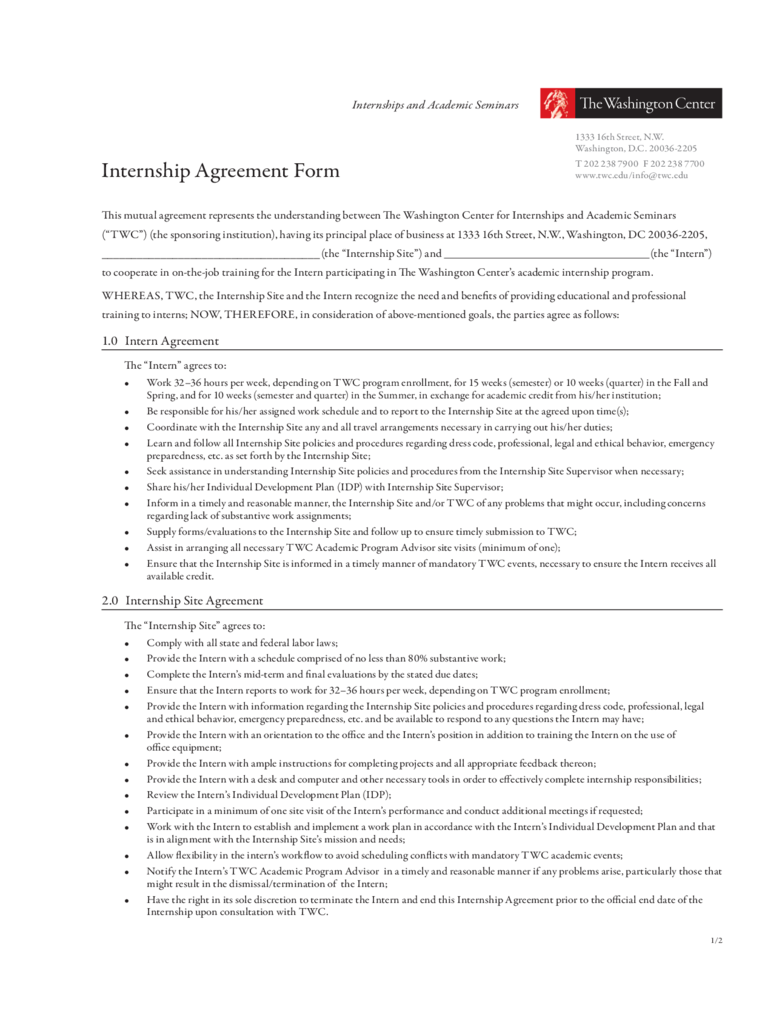 Internship Agreement Form - The Washington Center