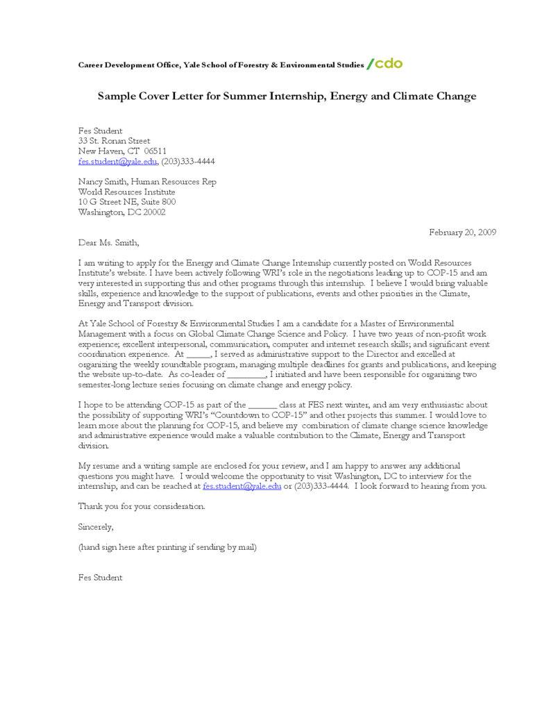 sample cover letter for summer internship energy and climate change