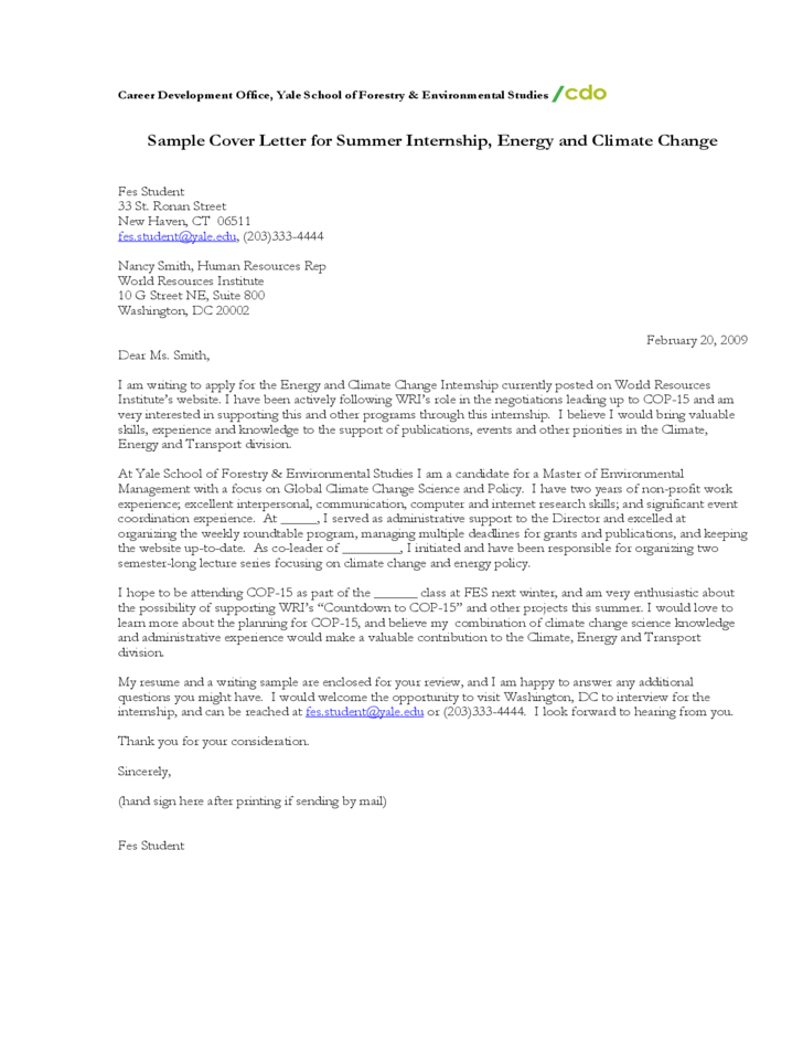 Sample Cover Letter For Summer Internship Energy And