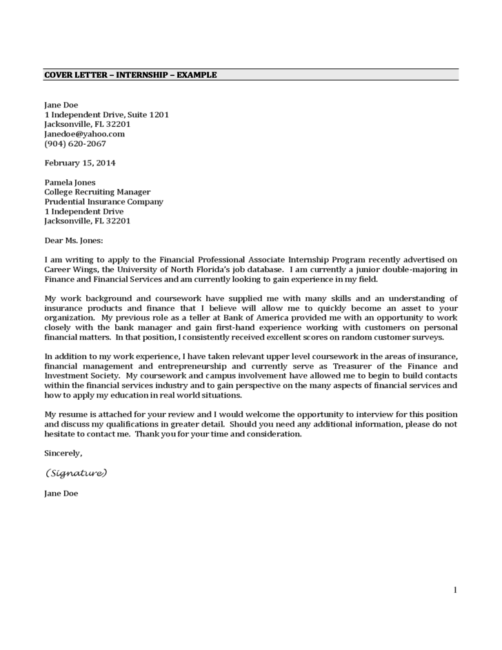 examples of good cover letters for internships - cover letter internship example free download