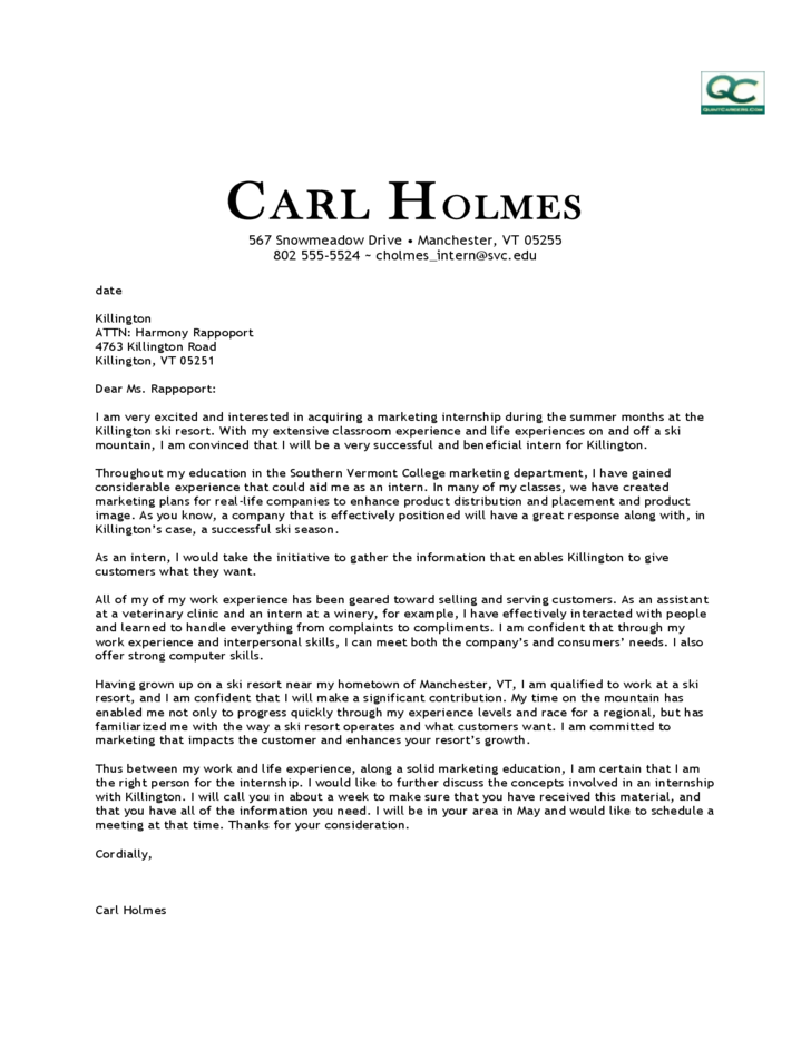Sample Marketing Internship Cover Letter Free Download