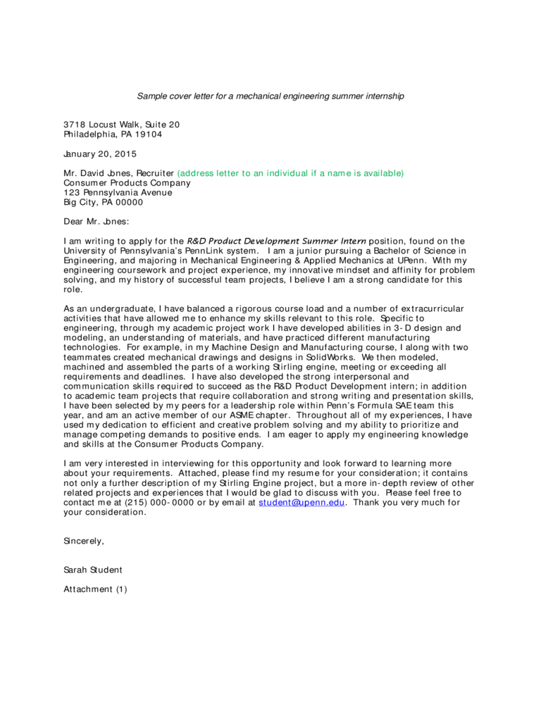 Sample Cover Letter for a Mechanical Engineering Summer Internship Free Download