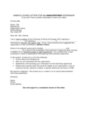 Sample Cover Letter for An Unadvertised Internship Free Download