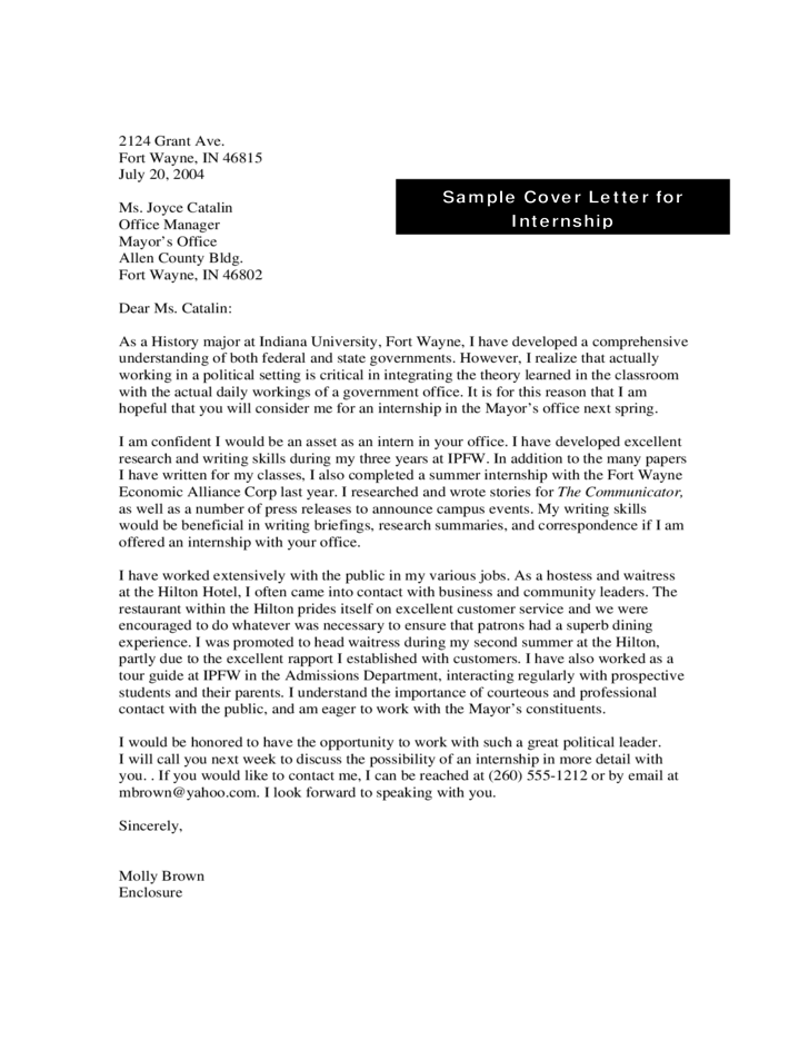 sample cover letter for internship free download