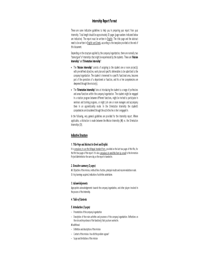 Internship Report Format Free Download – Internship Report Sample