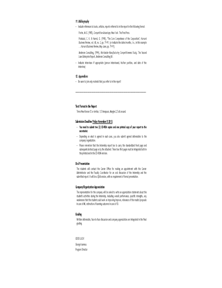 Internship Report Format Free Download