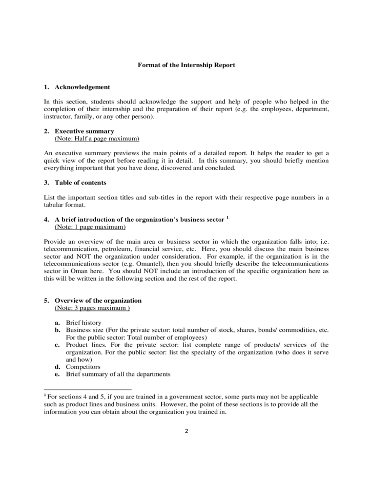 Internship Report Template Free Download