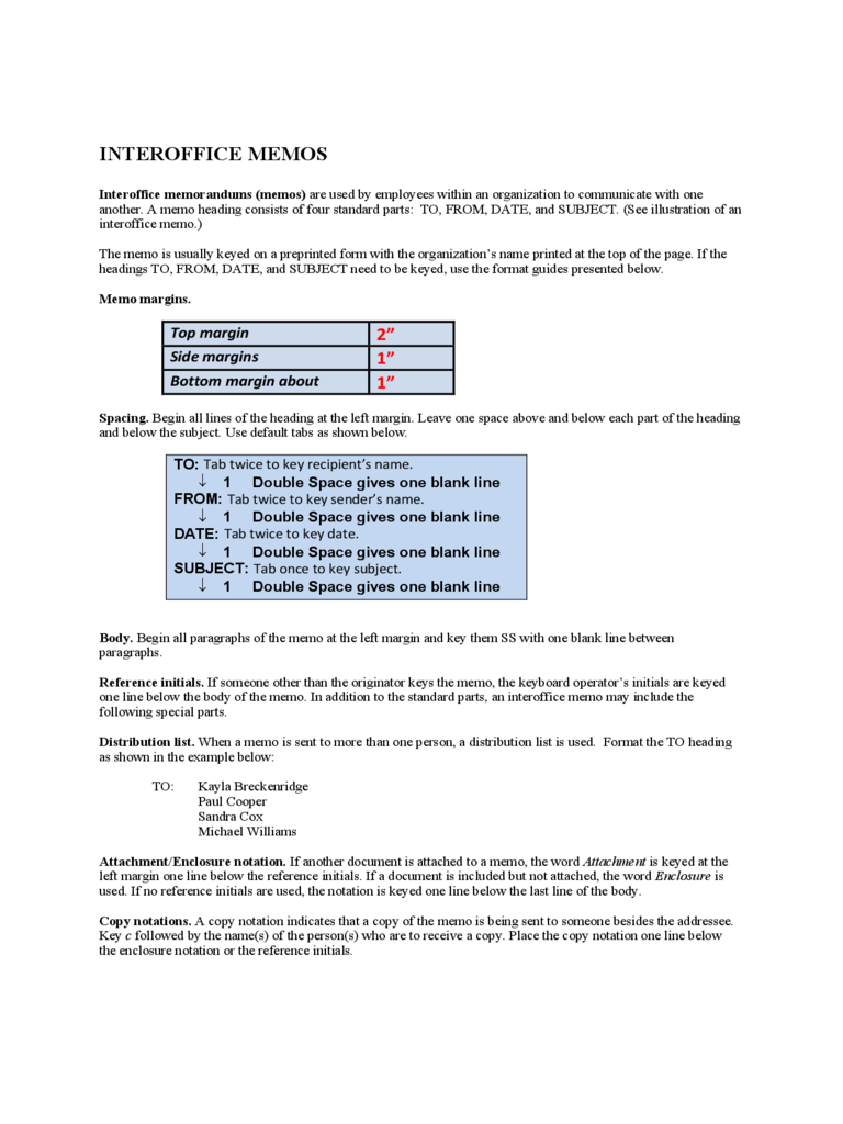 Sample Interoffice Memo Free Download