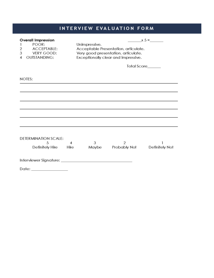 Free Sample Interview Evaluation Form