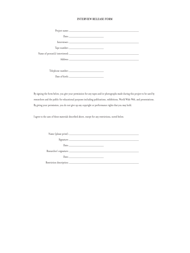 Interview Release Form 4 Free Templates in PDF Word Excel Download – Interview Release Form