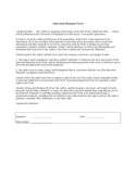 General Interview Release Form Free Download