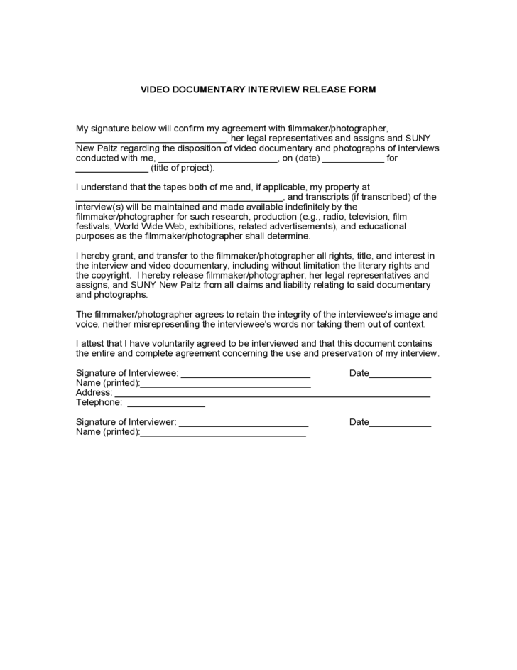 Video Documentary Interview Release Form Free Download – Interview Release Form