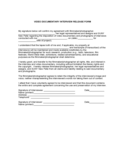 Video Documentary Interview Release Form Free Download