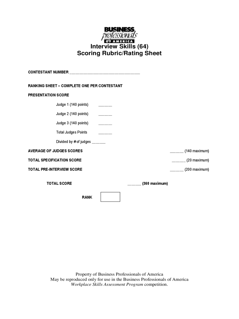 Interview Score Sheet 5 Free Templates in PDF Word Excel Download – Interview Score Sheet Template