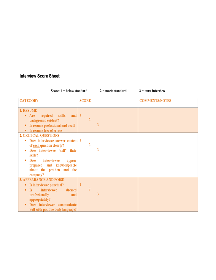 Interview Score Sheet Template Free Download – Interview Score Sheet Template