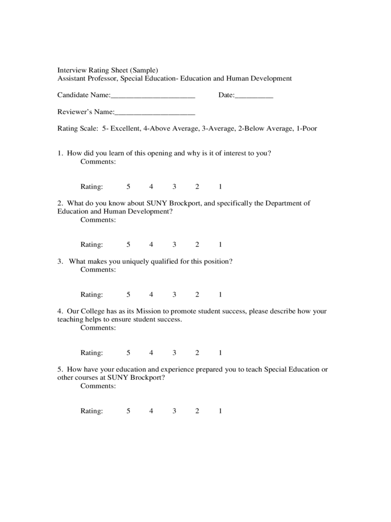 Interview Rating Sheet
