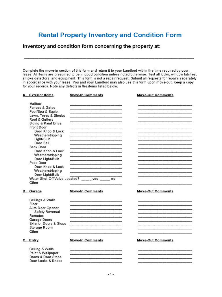 rental inventory template – Inventory List for Landlords