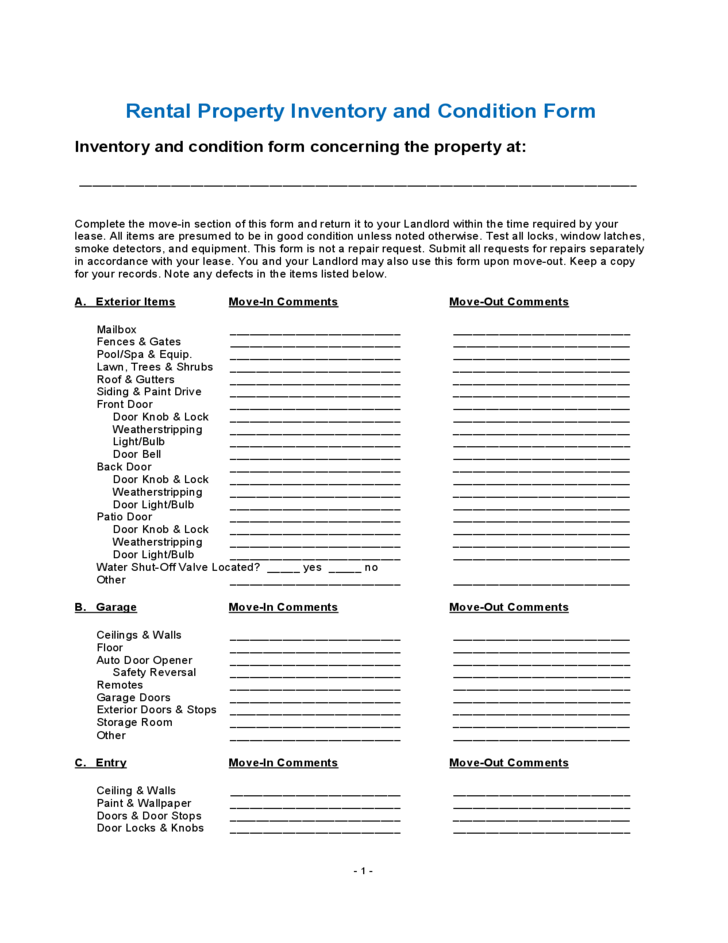 Rental property inventory and condition form free download for Rental property condition report template