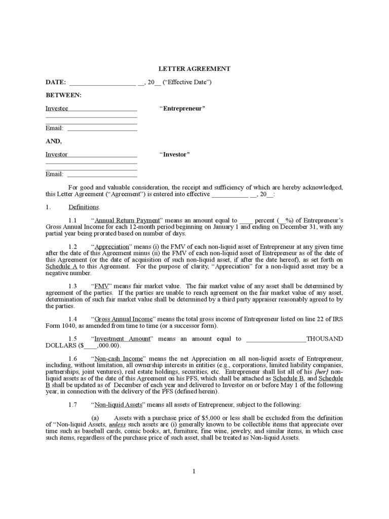Superb Letter Agreement With Investors Agreement Template