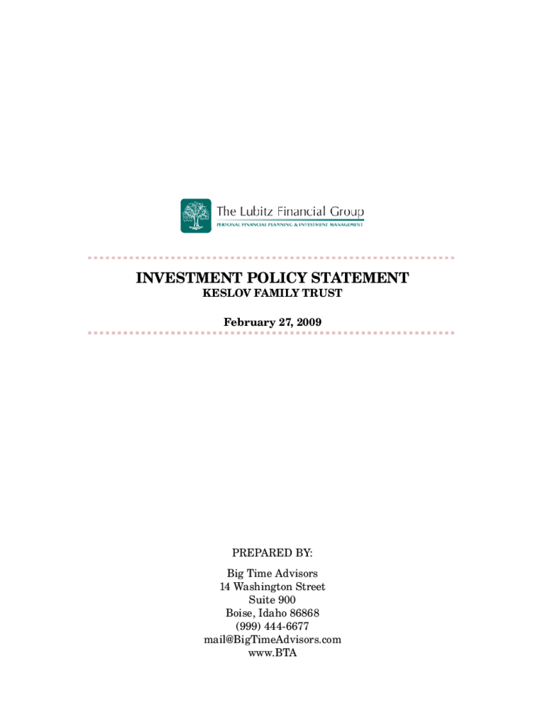 Standard Investment Policy Statement