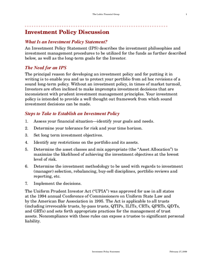 standard investment policy statement free download