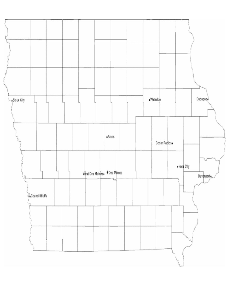 Map of Iowa Cities with City Names