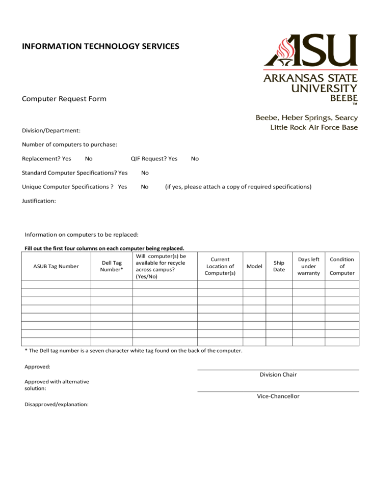 IT Service Request Form Arkansas State University Free Download – Computer Service Request Form