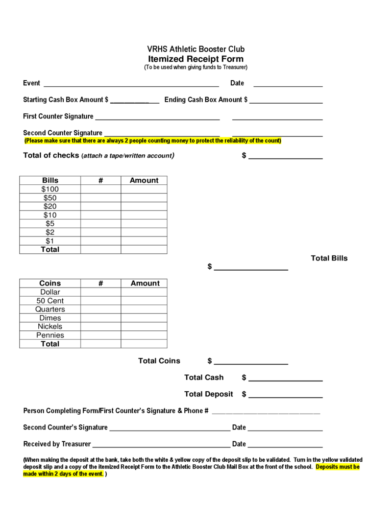 Sample Itemized Receipt Form
