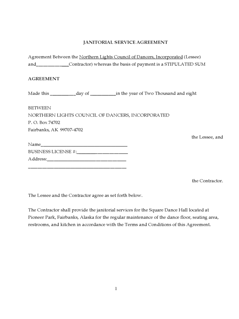 Janitorial contract template 2 free templates in pdf for Janitorial service contract template