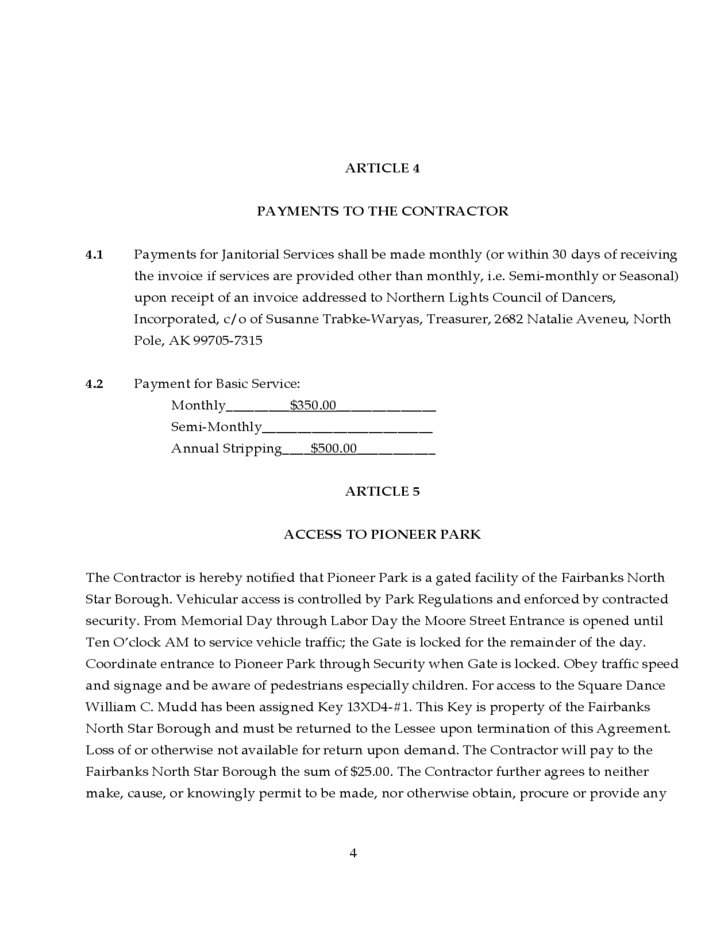 Janitorial service agreement free download for Janitorial service contract template