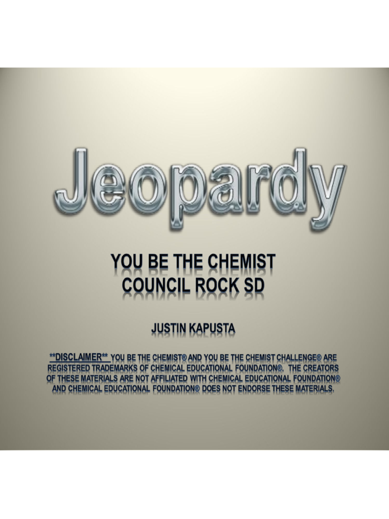 Sample Powerpoint of Jeopardy